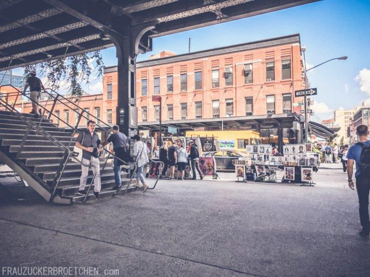 Der High Line Park_Die stillgelegte Hochbahntrasse im Manhattans Westen_Start Washington St_Frau Zuckerbrötchen