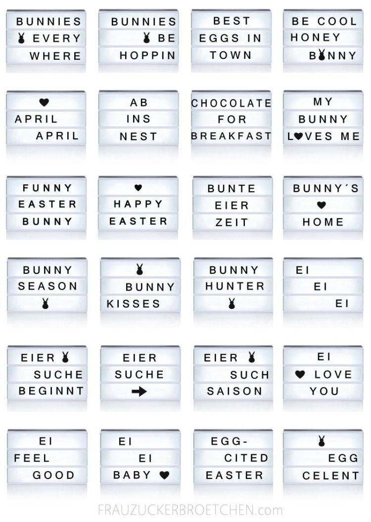 Coole Sprüche für die Lichtbox Easter Edition